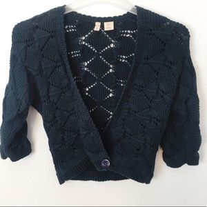 MOTH | Crochet Cropped Cardigan Anthropologie Boho